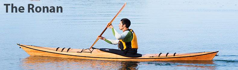 Ronan kayak- sideview of playful, lightweight wooden kayak