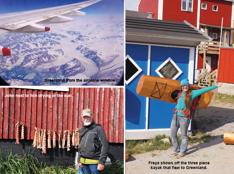 greenland out of an airplane window and traditional greenland dress collage
