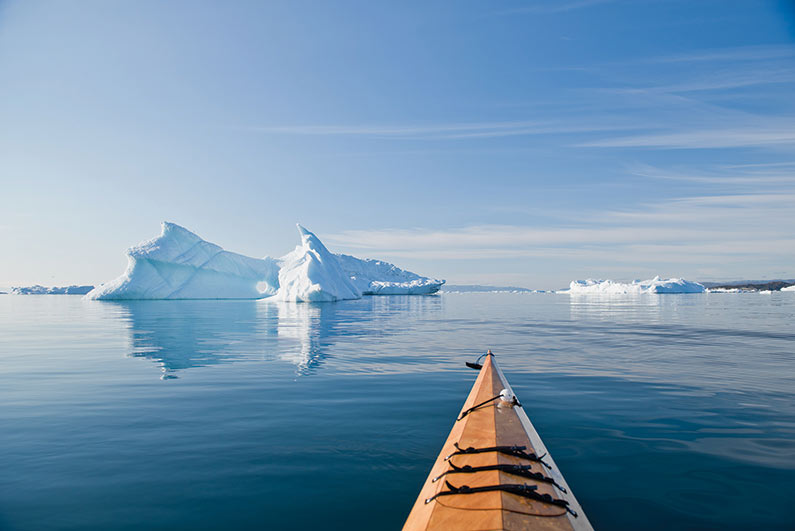 iceburg and bow of kayak