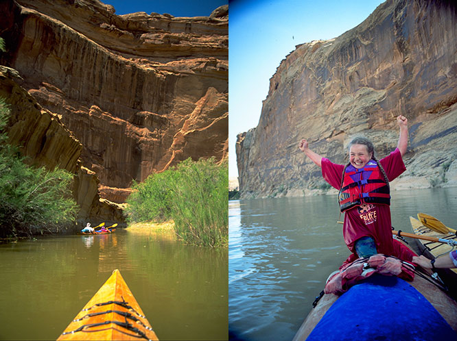 family kayaking on the green river