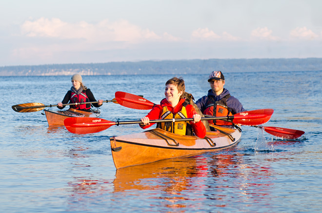 triple-kit kayak, great for family and dogs