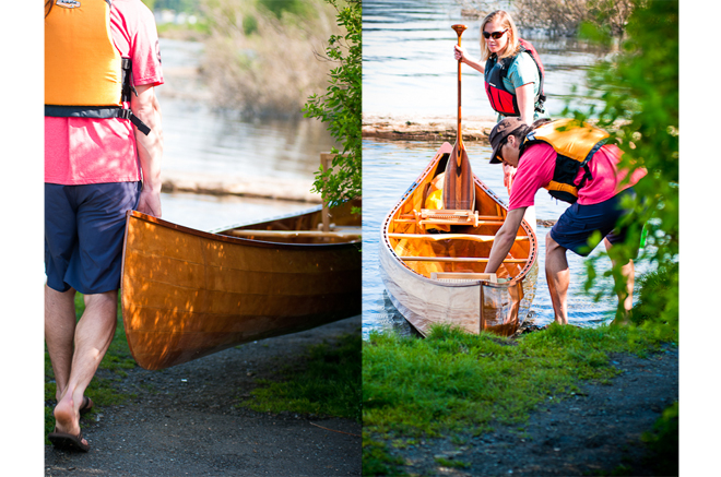 carring taiga canoe to water