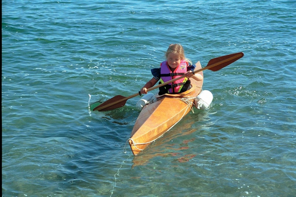 5 year old Freya in her kid sized kayak