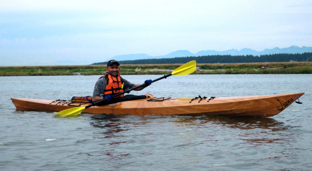 We met Bharat Nagin (shown above in his completed boat) at the Northwest Paddling Fest last year where he paddled his first Pygmy. One week later he was buying a Murrelet 4PD.