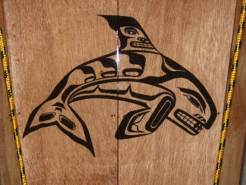 Whale design on a Coho printed on ordinary tissue paper and applied before the fiberglass.