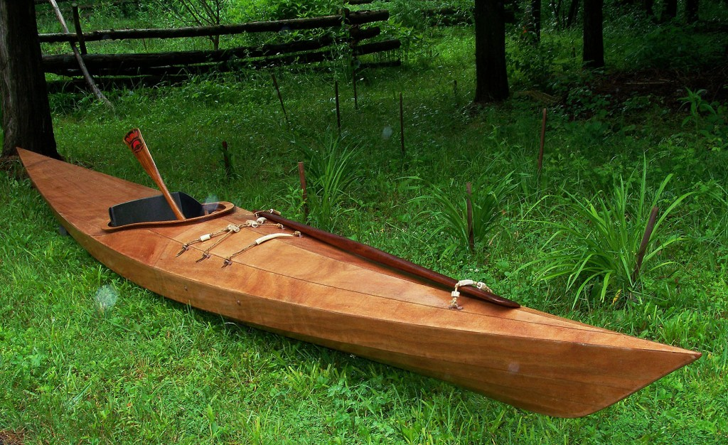 handmade wooden sea kayak