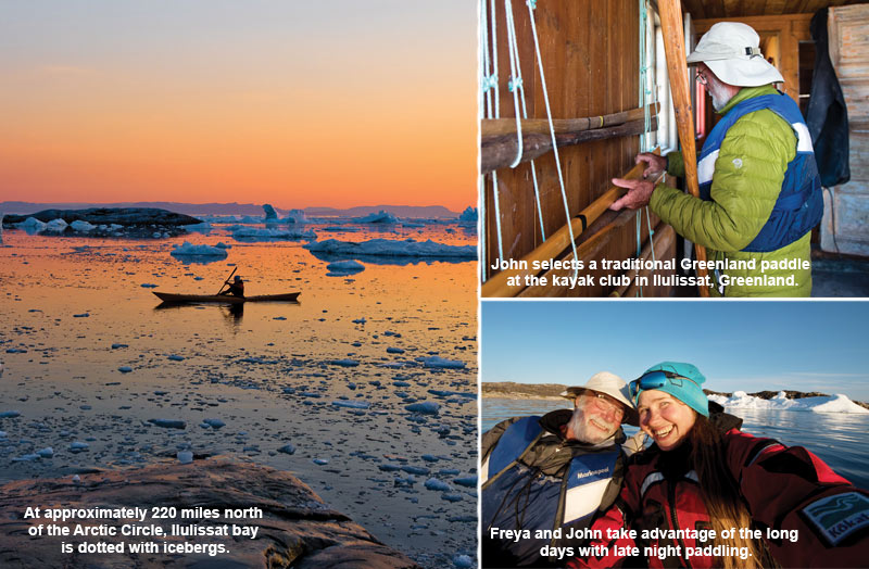 sunset over an iceburg dotted bay in ilulissat, traditional greenland paddles at the kayak club and late night on the water selfie