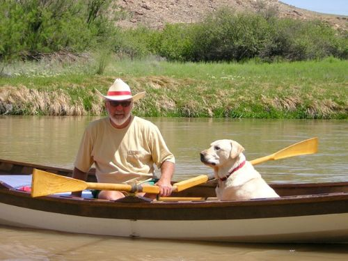 """Winston loves the wherry!  It's a very dog friendly boat.""  - William H MacFaden of Leadville, CO"